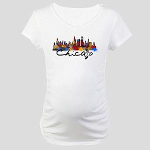 Chicago Illinois Skyline Maternity T-Shirt