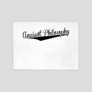 Ancient Philosophy, Retro, 5'x7'Area Rug