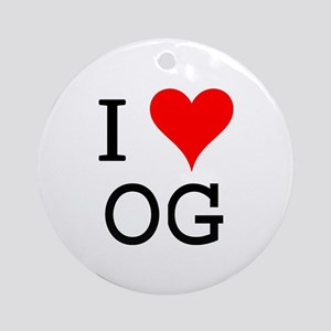 I Love OG Ornament (Round)