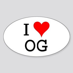 I Love OG Oval Sticker