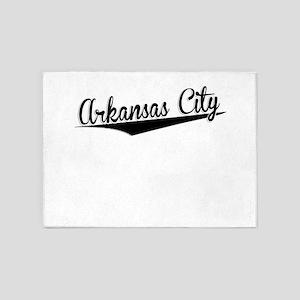 Arkansas City, Retro, 5'x7'Area Rug