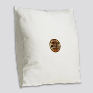 222 Motors Leather Store Burlap Throw Pillow