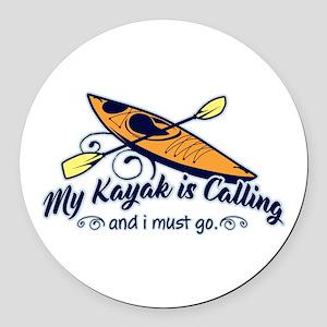 My Kayak Is Calling Round Car Magnet