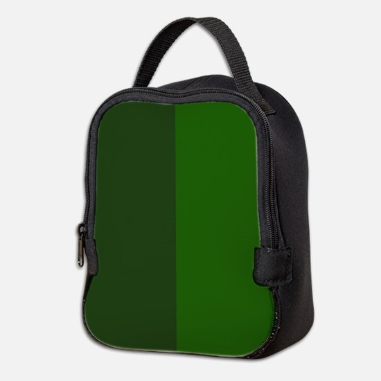 Dark Green Halves Neoprene Lunch Bag