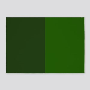 Dark Green Halves 5'x7'Area Rug