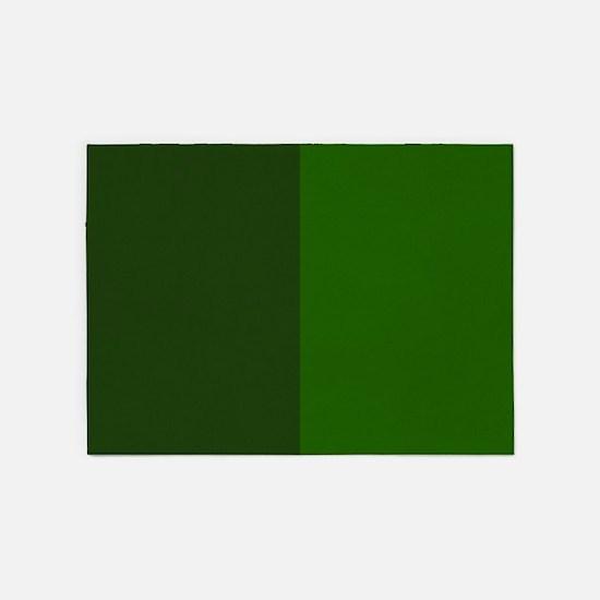 Dark Green Halves 5'x7'Area Rug
