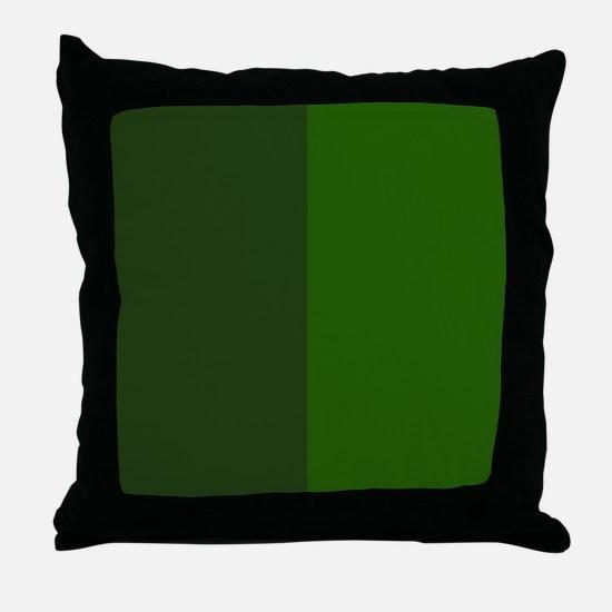 Dark Green Halves Throw Pillow