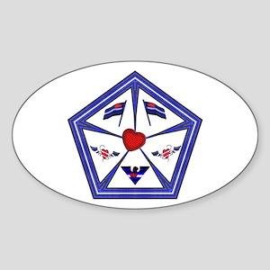 LEATHER PRIDE FILLED PENTAGON Oval Sticker