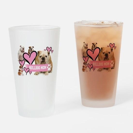 Bulldog Mom1 Drinking Glass