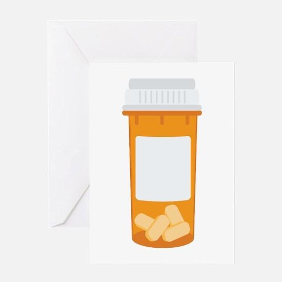 Medicine Pill Bottle Greeting Cards