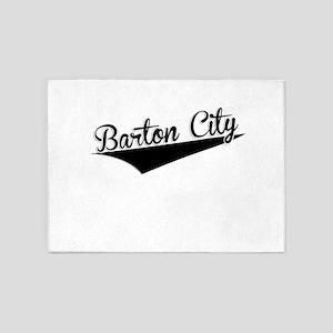 Barton City, Retro, 5'x7'Area Rug