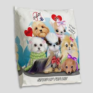 Puppies Manifesto Burlap Throw Pillow