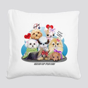 Puppies Manifesto Square Canvas Pillow