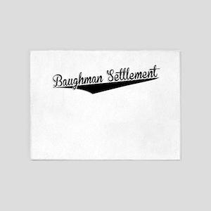 Baughman Settlement, Retro, 5'x7'Area Rug