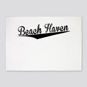 Beach Haven, Retro, 5'x7'Area Rug