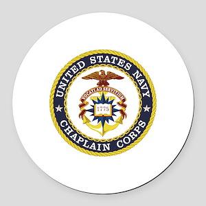 US Navy Chaplain Round Car Magnet