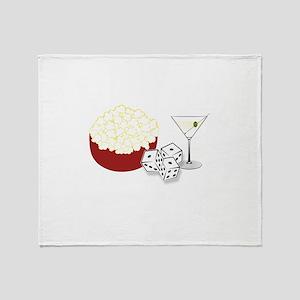 Bunco Popcorn Cocktail Throw Blanket