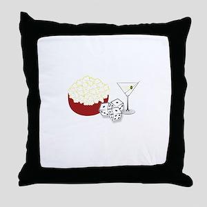 Bunco Popcorn Cocktail Throw Pillow
