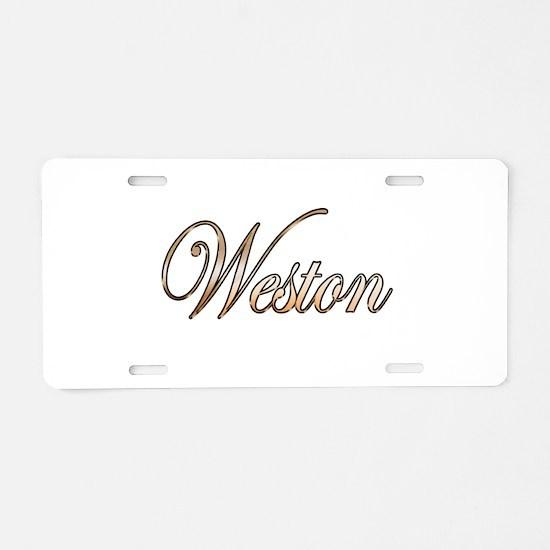 Gold Weston Aluminum License Plate