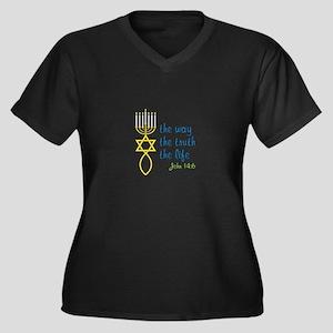 John 14:6 Women's Plus Size V-Neck Dark T-Shirt
