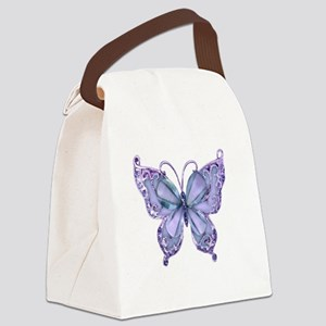 Pretty Blue Butterfly Canvas Lunch Bag