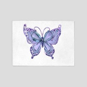 Pretty Blue Butterfly 5'x7'Area Rug