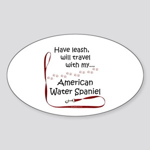 Water Spaniel Travel Leash Oval Sticker
