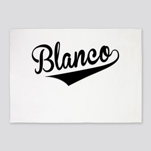 Blanco, Retro, 5'x7'Area Rug