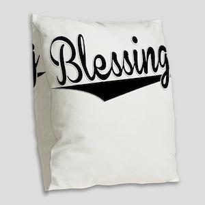 Blessing, Retro, Burlap Throw Pillow