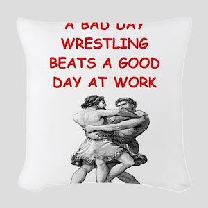 WRESTLING6 Woven Throw Pillow