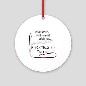 Black Russian Travel Leash Ornament (Round)