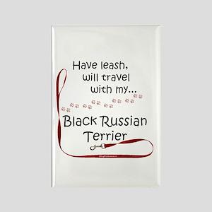 Black Russian Travel Leash Rectangle Magnet