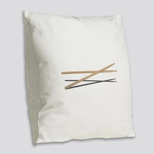 CrossedDrumSticks042211 Burlap Throw Pillow