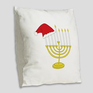 Hanukkah And Christmas Burlap Throw Pillow