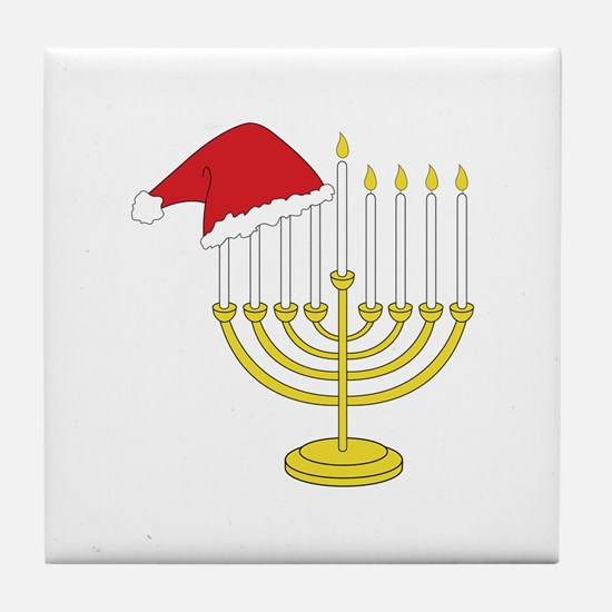 Hanukkah And Christmas Tile Coaster
