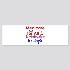 Medicare for all in blue and red Bumper Sticker