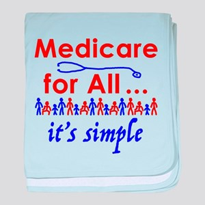 Medicare for all in blue and red baby blanket