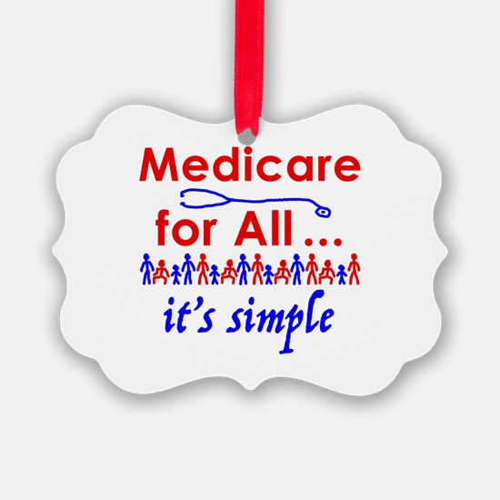 Medicare for all in blue and red Ornament