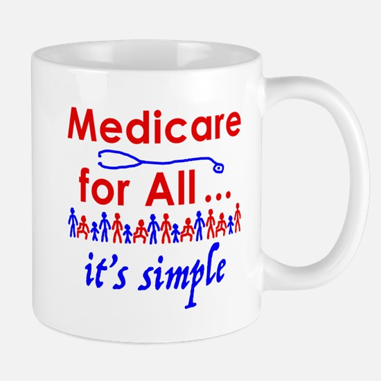 Medicare for all in blue and red Mugs