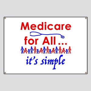 Medicare for all in blue and red Banner