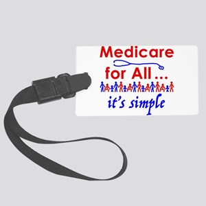 Medicare for all in blue and red Large Luggage Tag