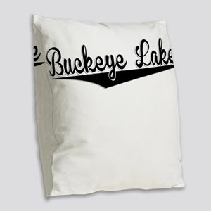 Buckeye Lake, Retro, Burlap Throw Pillow