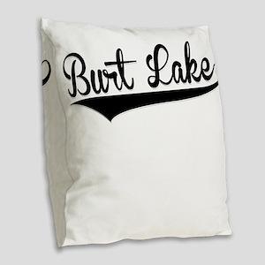 Burt Lake, Retro, Burlap Throw Pillow