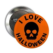 I Love Halloween Skull Button