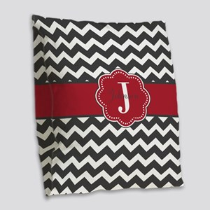 Gray Red Chevron Personalized Burlap Throw Pillow