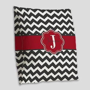 Gray Red Chevron Personalized Burlap Throw Pillow