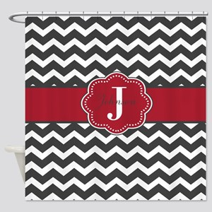 Gray Red Chevron Personalized Shower Curtain