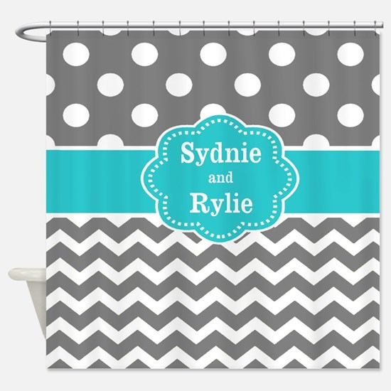 Gray Teal Chevron Dots Personalized Shower Curtain