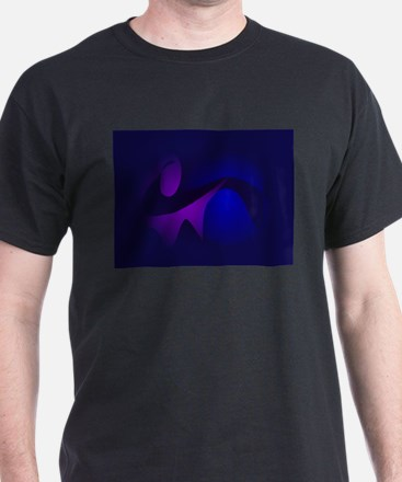 Simple Navy Gradation Abstract Art T-Shirt
