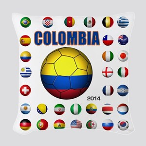 Colombia futbol soccer Woven Throw Pillow